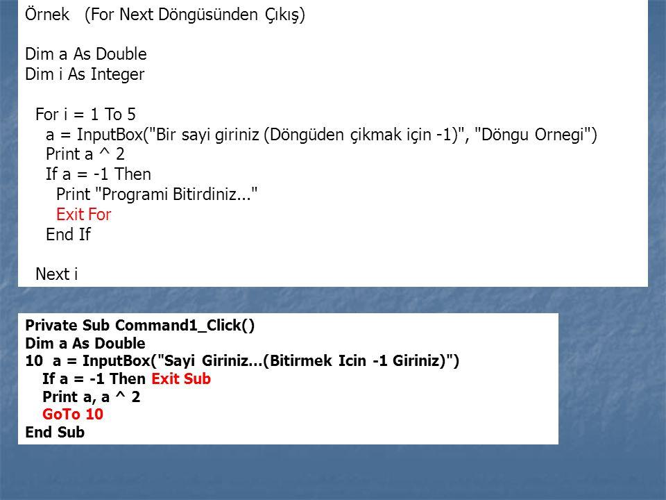 Örnek (For Next Döngüsünden Çıkış) Dim a As Double Dim i As Integer For i = 1 To 5 a = InputBox(