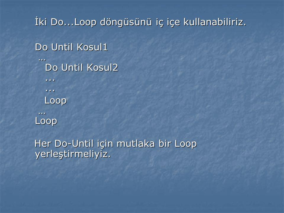 İki Do...Loop döngüsünü iç içe kullanabiliriz. İki Do...Loop döngüsünü iç içe kullanabiliriz. Do Until Kosul1 … Do Until Kosul2...... Loop … Loop Loop