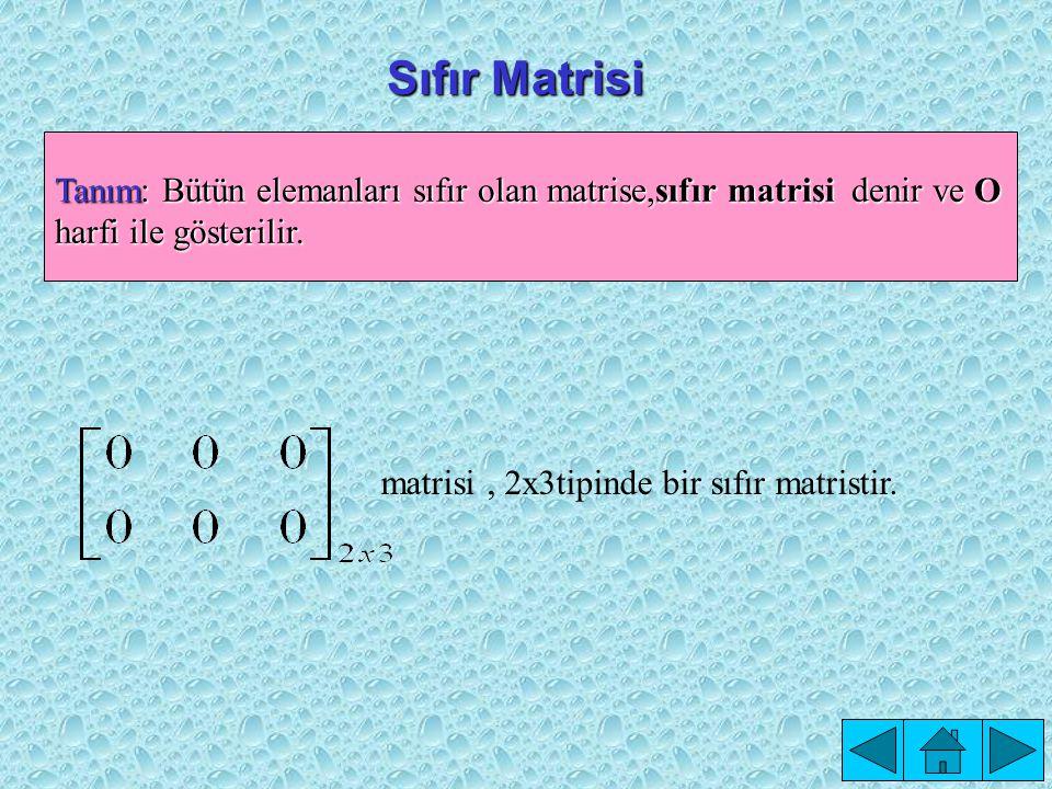 Kare Matris Tanım: n x n tipindeki A= [a ij ] m x n matrisine, n.