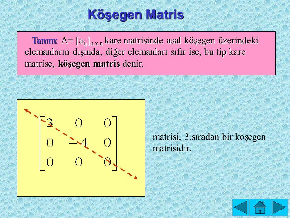 Asal Köşegen, Yedek Köşegen Tanım : A= [a ij ] n x n kare matrisine a 11,a 22,a 33,...,a nn elemanlarının oluşturduğu köşegene, asal köşegen; a n1,a (n-1)2,...,a 1n terimlerinin oluşturduğu köşegene, yedek köşegen denir.