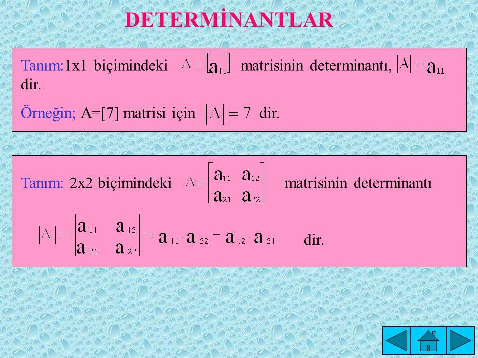 Çözüm: simetrik bir matristir.Çünkü, A = A T dir.