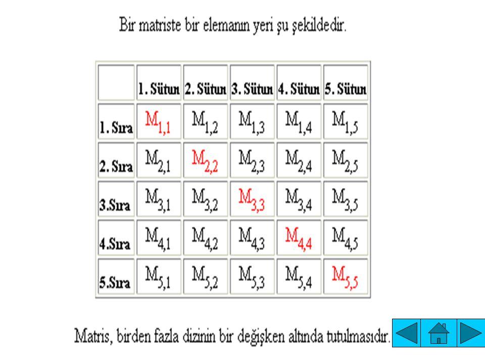 A matrisindeki her sayıya, matrisin elemanı ya da bileşeni ve elemanındaki i sayısına birinci indis, j sayısına da ikinci indis denir.