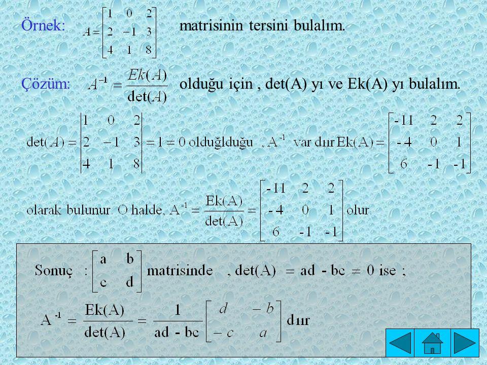 A -1 Matrisinin Ek Matris Yardımıyla Bulunuşu: Teorem: A matrisiolan bir matris olmak üzere, 'dır.