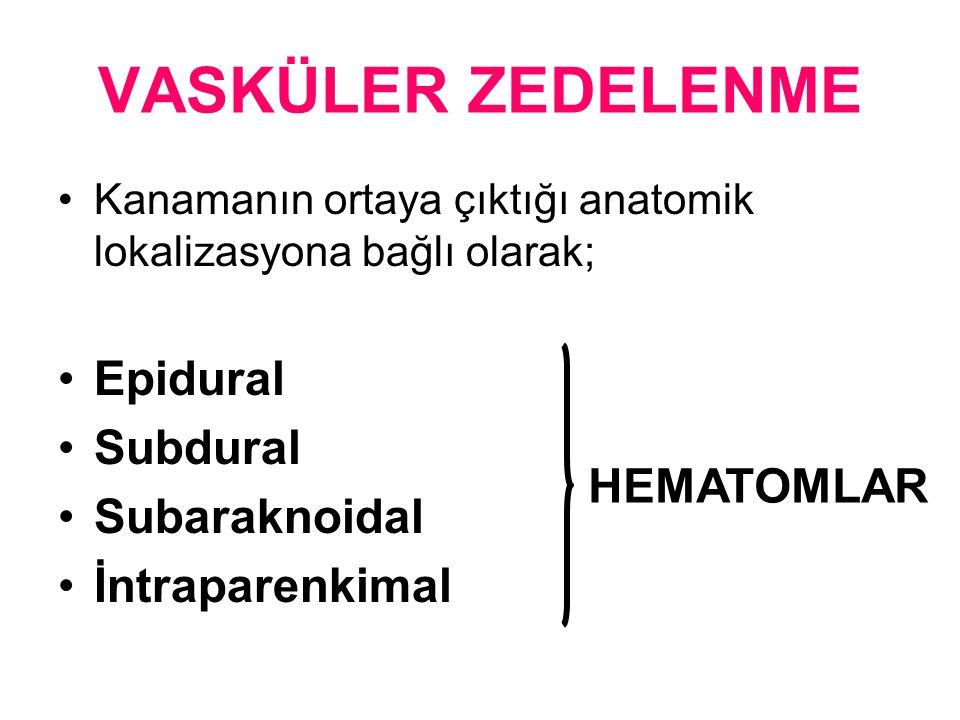 VASKÜLER ZEDELENME Kanamanın ortaya çıktığı anatomik lokalizasyona bağlı olarak; Epidural Subdural Subaraknoidal İntraparenkimal HEMATOMLAR