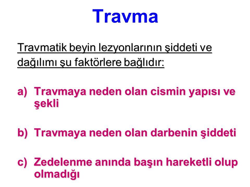 Travma Travmatik beyin lezyonlarının şiddeti ve dağılımı şu faktörlere bağlıdır: a)Travmaya neden olan cismin yapısı ve şekli b)Travmaya neden olan da