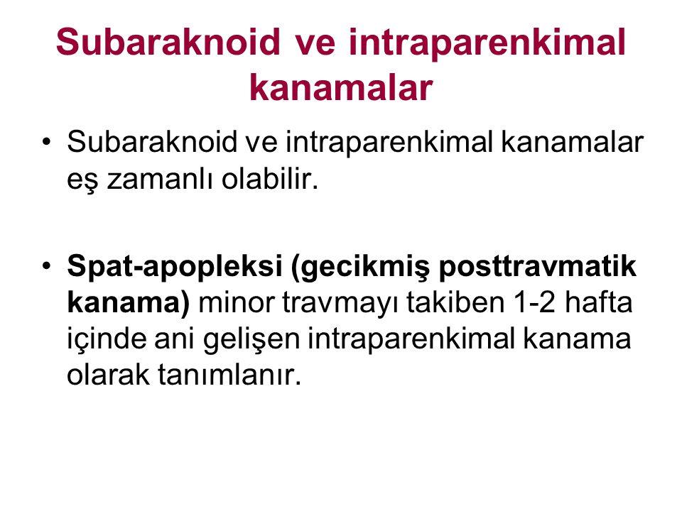Subaraknoid ve intraparenkimal kanamalar Subaraknoid ve intraparenkimal kanamalar eş zamanlı olabilir. Spat-apopleksi (gecikmiş posttravmatik kanama)