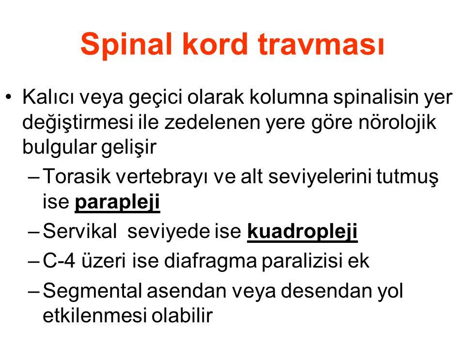 Spinal kord travması Kalıcı veya geçici olarak kolumna spinalisin yer değiştirmesi ile zedelenen yere göre nörolojik bulgular gelişir –Torasik vertebr
