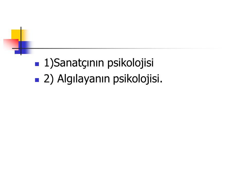 1)Sanatçının psikolojisi 2) Algılayanın psikolojisi.