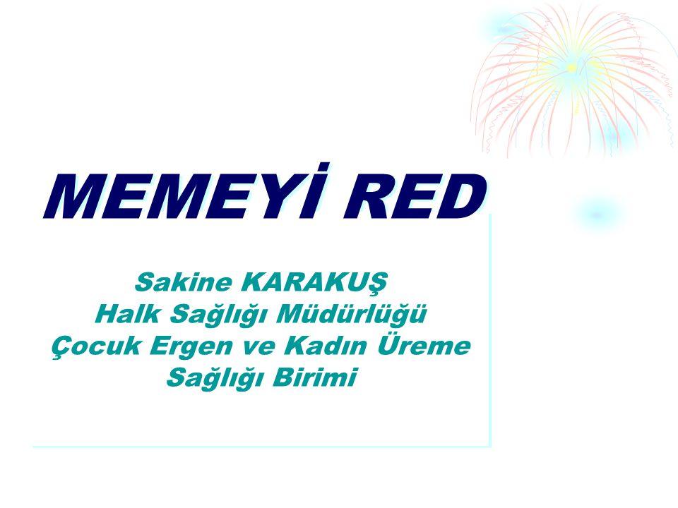 MEMEYİ RED Sakine KARAKUŞ Halk Sağlığı Müdürlüğü Çocuk Ergen ve Kadın Üreme Sağlığı Birimi