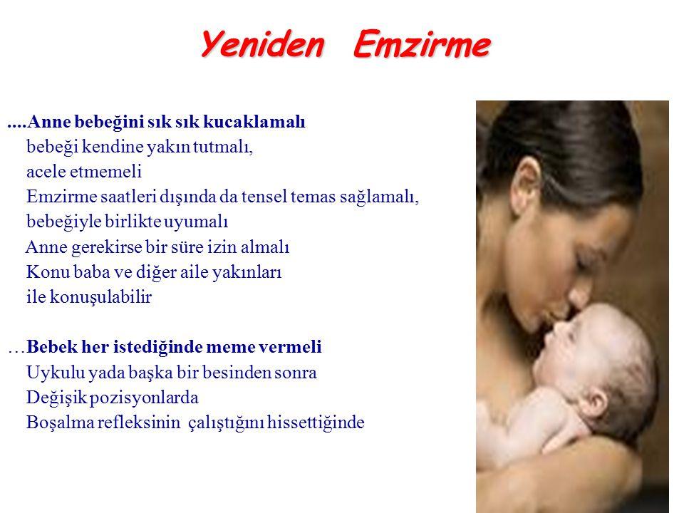 ....Anne bebeğini sık sık kucaklamalı bebeği kendine yakın tutmalı, acele etmemeli Emzirme saatleri dışında da tensel temas sağlamalı, bebeğiyle birli