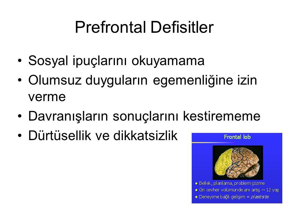 Prefrontal Defisitler Sosyal ipuçlarını okuyamama Olumsuz duyguların egemenliğine izin verme Davranışların sonuçlarını kestirememe Dürtüsellik ve dikk