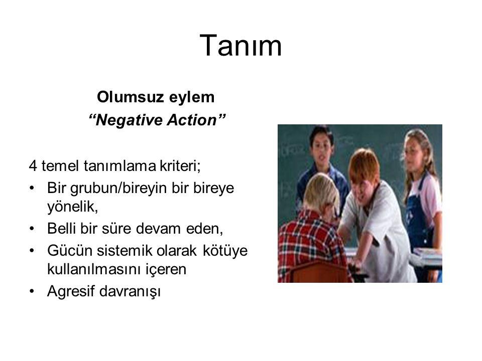 Tanım Olumsuz eylem Negative Action 4 temel tanımlama kriteri; Bir grubun/bireyin bir bireye yönelik, Belli bir süre devam eden, Gücün sistemik olarak kötüye kullanılmasını içeren Agresif davranışı