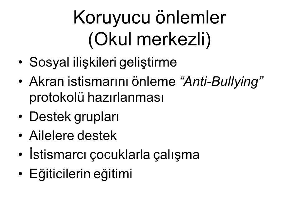 Koruyucu önlemler (Okul merkezli) Sosyal ilişkileri geliştirme Akran istismarını önleme Anti-Bullying protokolü hazırlanması Destek grupları Ailelere destek İstismarcı çocuklarla çalışma Eğiticilerin eğitimi