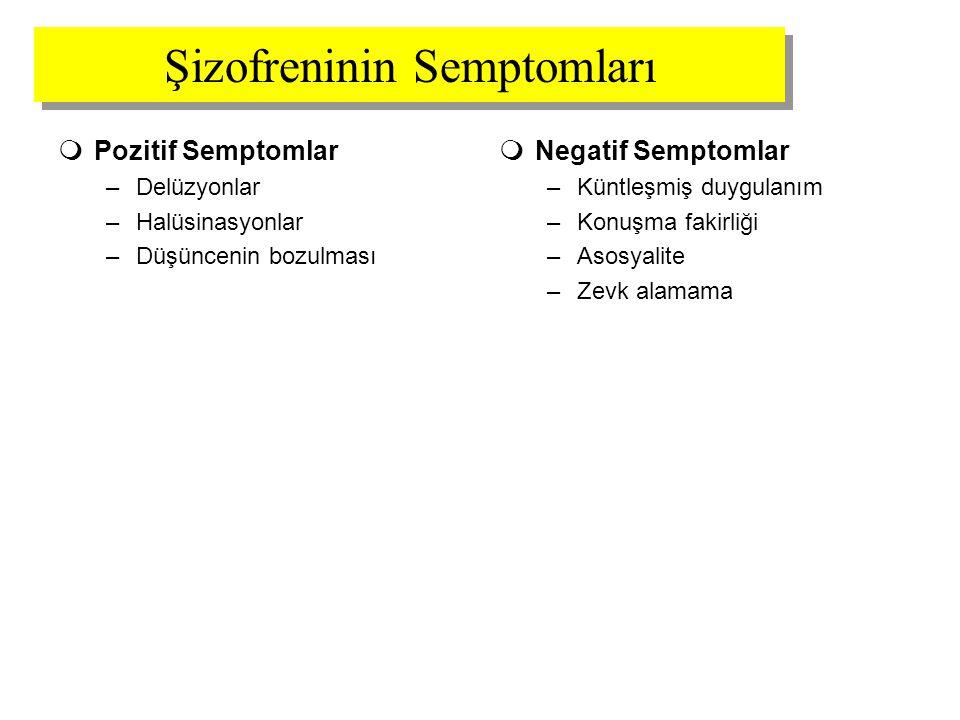 Şizofreninin Semptomları  Pozitif Semptomlar –Delüzyonlar –Halüsinasyonlar –Düşüncenin bozulması  Negatif Semptomlar –Küntleşmiş duygulanım –Konuşma