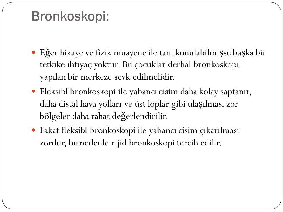 Bronkoskopi: E ğ er hikaye ve fizik muayene ile tanı konulabilmi ş se ba ş ka bir tetkike ihtiyaç yoktur.