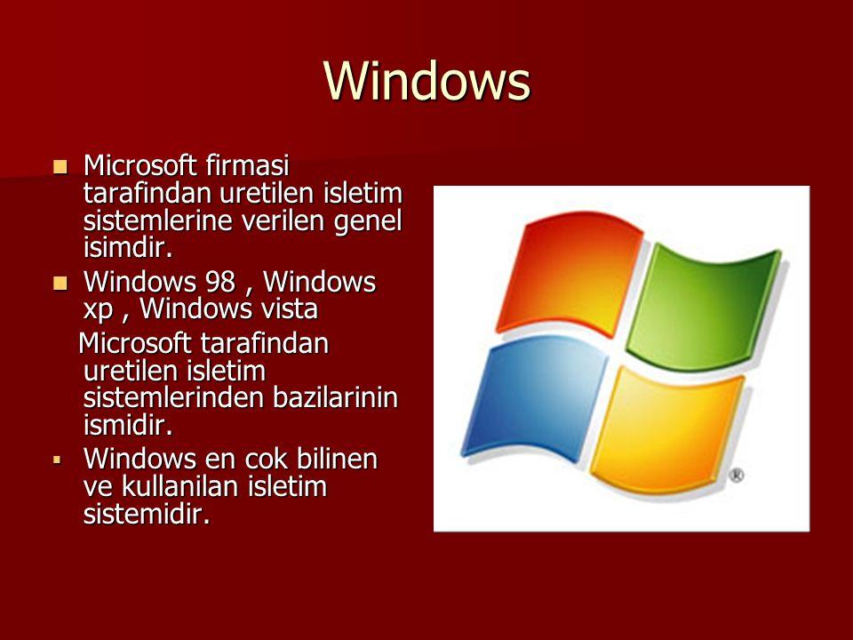 Windows Microsoft firmasi tarafindan uretilen isletim sistemlerine verilen genel isimdir. Microsoft firmasi tarafindan uretilen isletim sistemlerine v