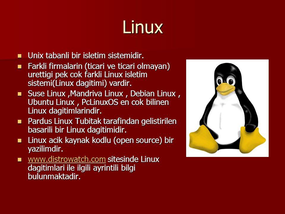 Linux Unix tabanli bir isletim sistemidir. Unix tabanli bir isletim sistemidir. Farkli firmalarin (ticari ve ticari olmayan) urettigi pek cok farkli L