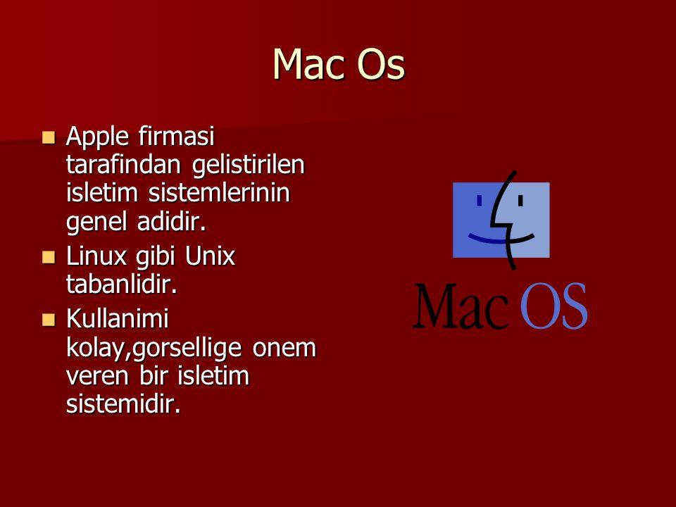 Mac Os Apple firmasi tarafindan gelistirilen isletim sistemlerinin genel adidir. Apple firmasi tarafindan gelistirilen isletim sistemlerinin genel adi