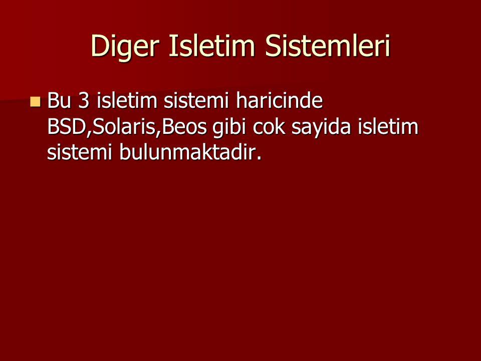 Diger Isletim Sistemleri Bu 3 isletim sistemi haricinde BSD,Solaris,Beos gibi cok sayida isletim sistemi bulunmaktadir. Bu 3 isletim sistemi haricinde