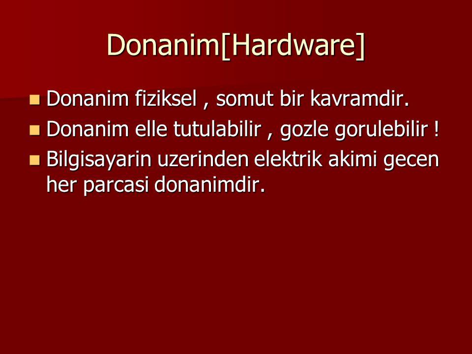 Donanim[Hardware] Donanim fiziksel, somut bir kavramdir. Donanim fiziksel, somut bir kavramdir. Donanim elle tutulabilir, gozle gorulebilir ! Donanim