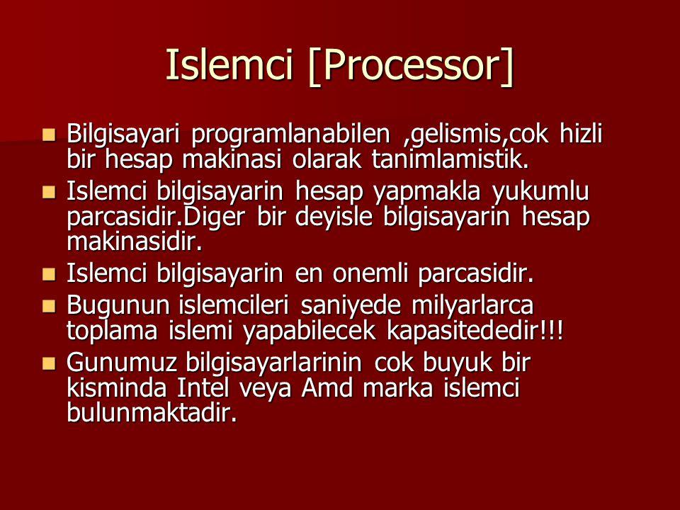 Islemci [Processor] Bilgisayari programlanabilen,gelismis,cok hizli bir hesap makinasi olarak tanimlamistik. Bilgisayari programlanabilen,gelismis,cok