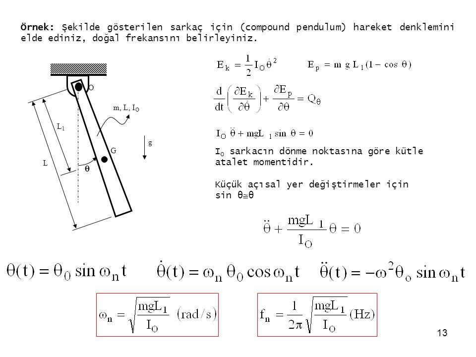 13 Örnek: Şekilde gösterilen sarkaç için (compound pendulum) hareket denklemini elde ediniz, doğal frekansını belirleyiniz. G O θ m, L, I O L L1L1 g I