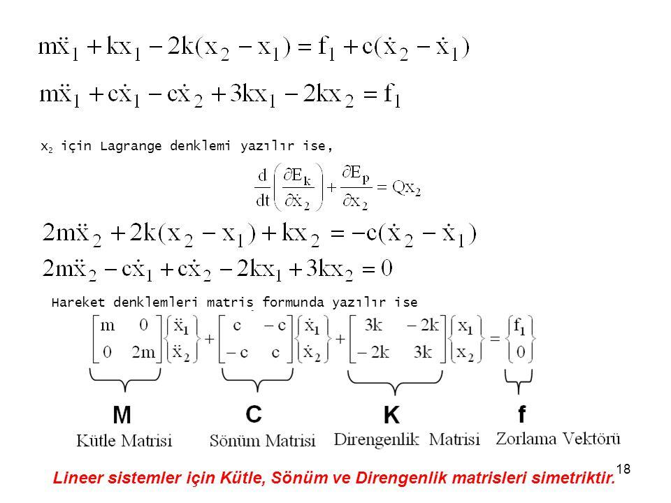 18 x 2 için Lagrange denklemi yazılır ise, Hareket denklemleri matris formunda yazılır ise Lineer sistemler için Kütle, Sönüm ve Direngenlik matrisler