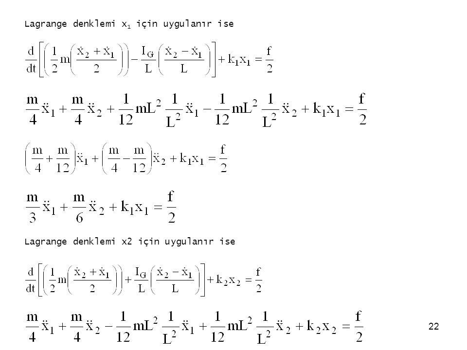 22 Lagrange denklemi x 1 için uygulanır ise Lagrange denklemi x2 için uygulanır ise