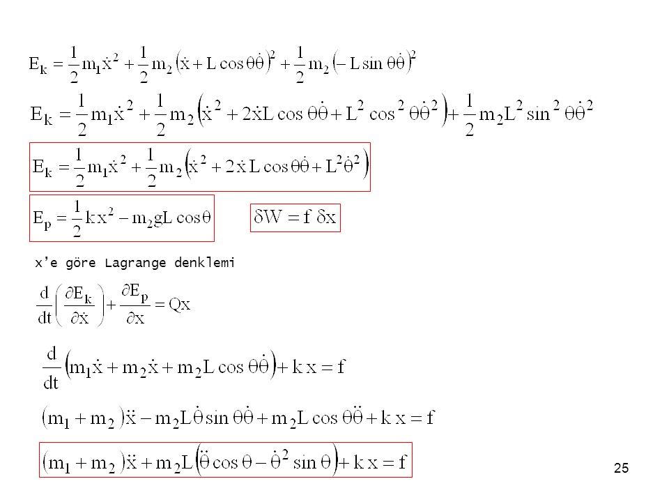 25 x'e göre Lagrange denklemi
