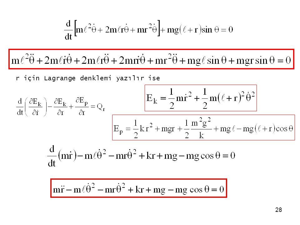 28 r için Lagrange denklemi yazılır ise
