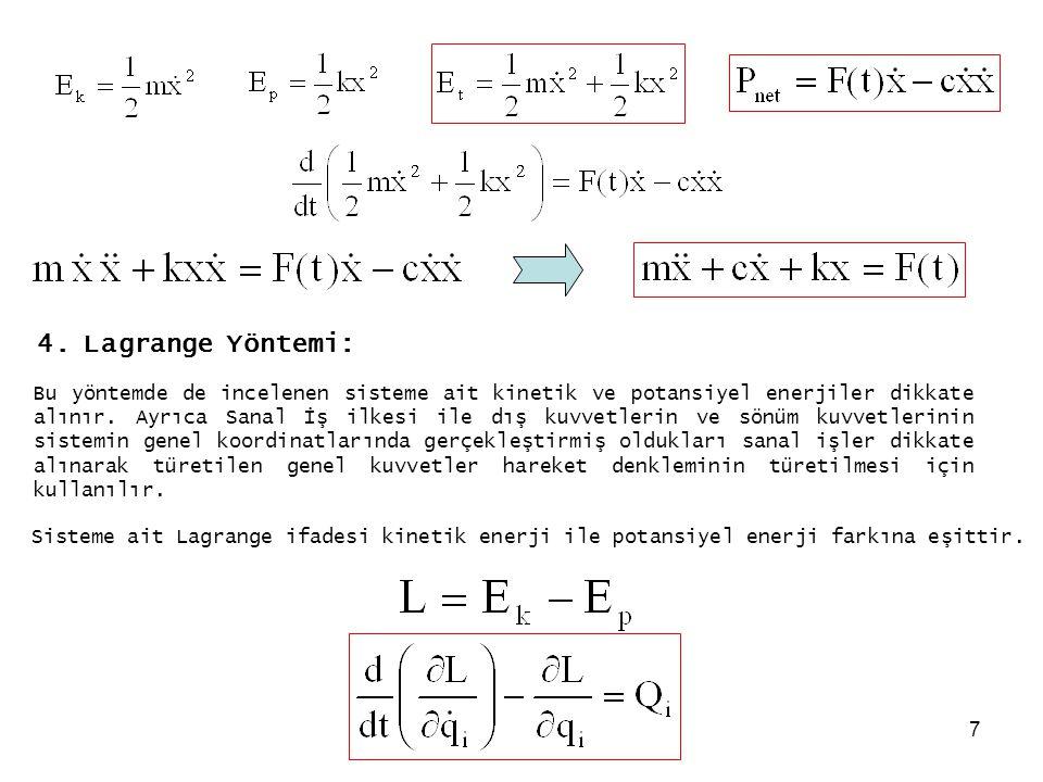 7 4. Lagrange Yöntemi: Bu yöntemde de incelenen sisteme ait kinetik ve potansiyel enerjiler dikkate alınır. Ayrıca Sanal İş ilkesi ile dış kuvvetlerin