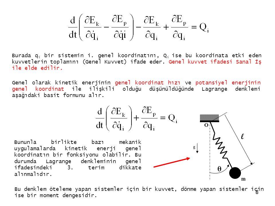 8 Burada q i bir sistemin i. genel koordinatını, Q i ise bu koordinata etki eden kuvvetlerin toplamını (Genel Kuvvet) ifade eder. Genel kuvvet ifadesi