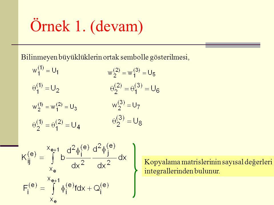 Örnek 1. (devam) Bilinmeyen büyüklüklerin ortak sembolle gösterilmesi, Kopyalama matrislerinin sayısal değerleri integrallerinden bulunur.