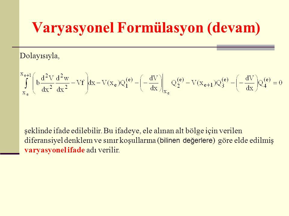 Varyasyonel Formülasyon (devam) Dolayısıyla, şeklinde ifade edilebilir. Bu ifadeye, ele alınan alt bölge için verilen diferansiyel denklem ve sınır ko