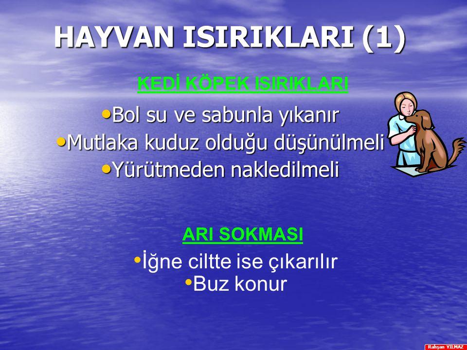 Rahşan YILMAZ HAYVAN ISIRIKLARI (1) Bol su ve sabunla yıkanır Bol su ve sabunla yıkanır Mutlaka kuduz olduğu düşünülmeli Mutlaka kuduz olduğu düşünülm