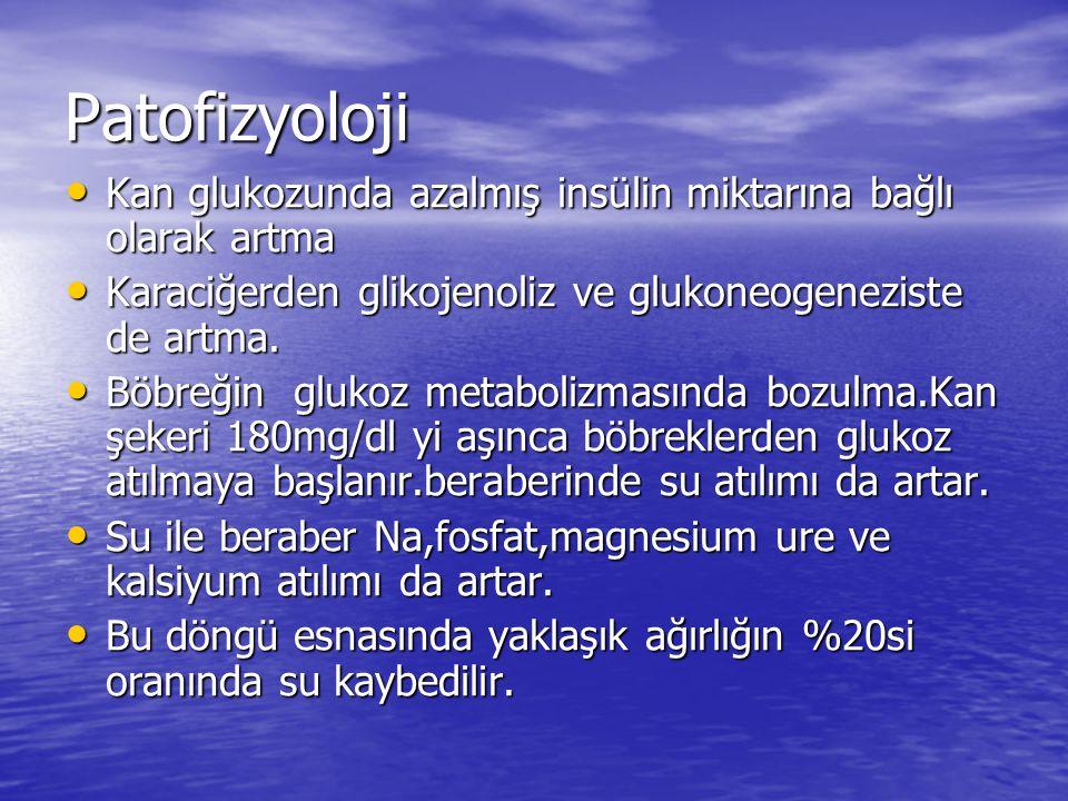 Patofizyoloji Kan glukozunda azalmış insülin miktarına bağlı olarak artma Kan glukozunda azalmış insülin miktarına bağlı olarak artma Karaciğerden glikojenoliz ve glukoneogeneziste de artma.