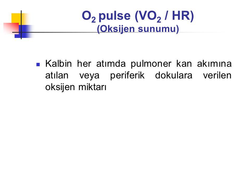 Oksijen kullanımı (Oksijen tüketimi = VO 2 ) Ulaşılan maksimum iş yükünde tüketilen O 2 miktarı