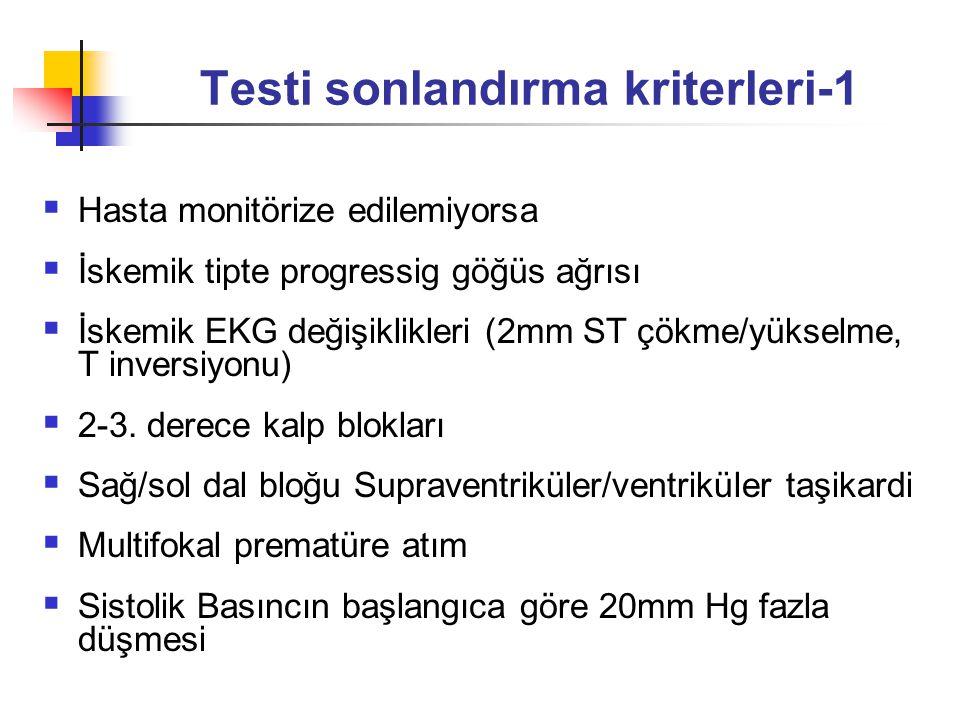 Hipertansiyon (sistolik B250 mmHg,diastolik B120mm Hg Ağır desaturasyon hipoksemi (O sat K%80) Aşırı terleme, ateş Koordinasyon kaybı Solunum yetmezliği bulguları Bulantı, kusma Kramp Ani solukluk, mental konfüzyon Her iş yükü artımında 10mm Hg sistolik KB artışı Testi sonlandırma kriterleri-2