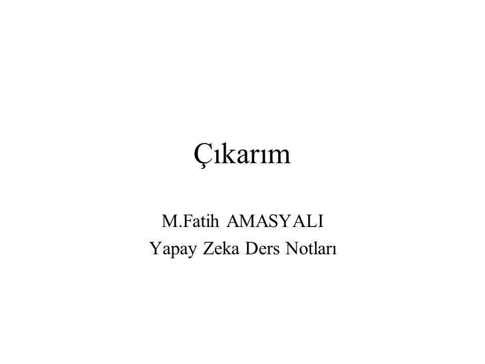 Çıkarım M.Fatih AMASYALI Yapay Zeka Ders Notları