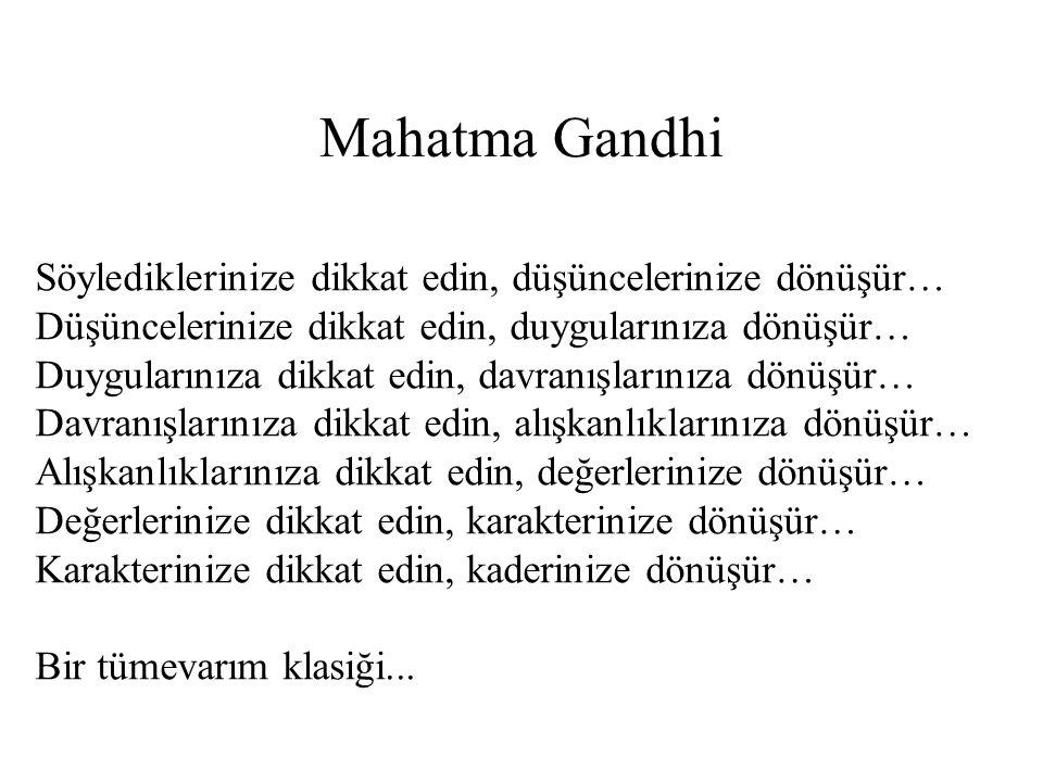 Mahatma Gandhi Söylediklerinize dikkat edin, düşüncelerinize dönüşür… Düşüncelerinize dikkat edin, duygularınıza dönüşür… Duygularınıza dikkat edin, d