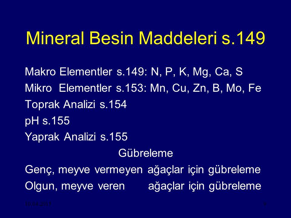 10.04.20159 Mineral Besin Maddeleri s.149 Makro Elementler s.149: N, P, K, Mg, Ca, S Mikro Elementler s.153: Mn, Cu, Zn, B, Mo, Fe Toprak Analizi s.154 pH s.155 Yaprak Analizi s.155 Gübreleme Genç, meyve vermeyen ağaçlar için gübreleme Olgun, meyve veren ağaçlar için gübreleme
