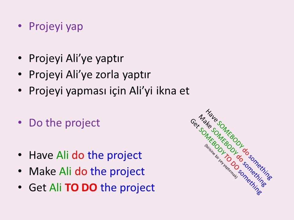 Projeyi yap Projeyi Ali'ye yaptır Projeyi Ali'ye zorla yaptır Projeyi yapması için Ali'yi ikna et Do the project Have Ali do the project Make Ali do the project Get Ali TO DO the project H a v e S O M E B O D Y d o s o m e t h i n g M a k e S O M E B O D Y d o s o m e t h i n g G e t S O M E B O D Y T O D O s o m e t h i n g ( b i r i s i n e b i r ş e y y a p t ı r m a k )