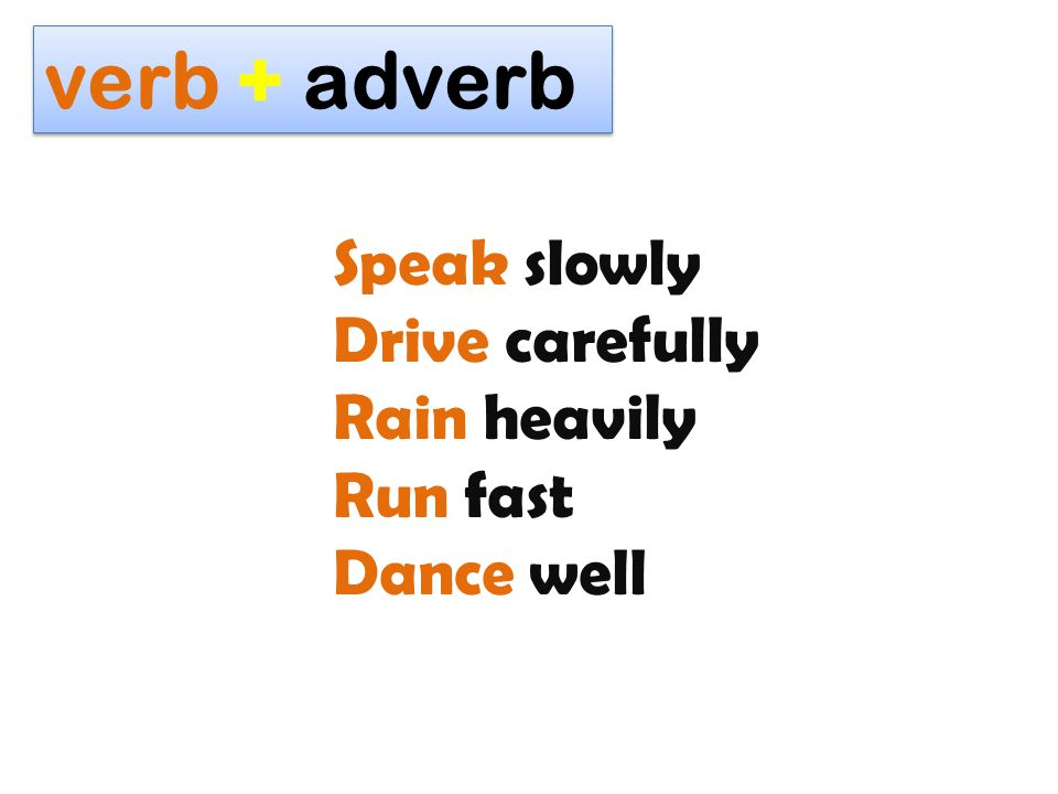 verb + adverb Speak slowly Drive carefully Rain heavily Run fast Dance well