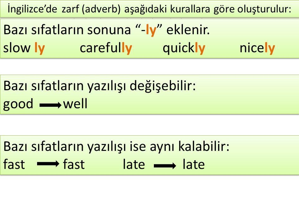 Peki yazılışı aynı kalan kelimelerin adjective (sıfat) veya adverb (zarf ) olduğunu nasıl anlayabiliriz.