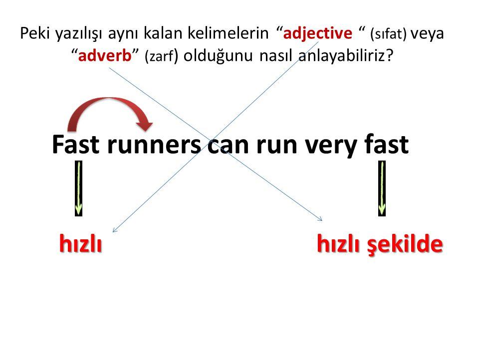 """Peki yazılışı aynı kalan kelimelerin """"adjective """" (sıfat) veya """"adverb"""" (zarf ) olduğunu nasıl anlayabiliriz? Fast runners can run very fast hızlı hız"""