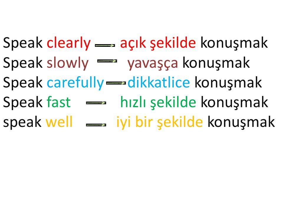 Speak clearly açık şekilde konuşmak Speak slowly yavaşça konuşmak Speak carefully dikkatlice konuşmak Speak fast hızlı şekilde konuşmak speak welliyi