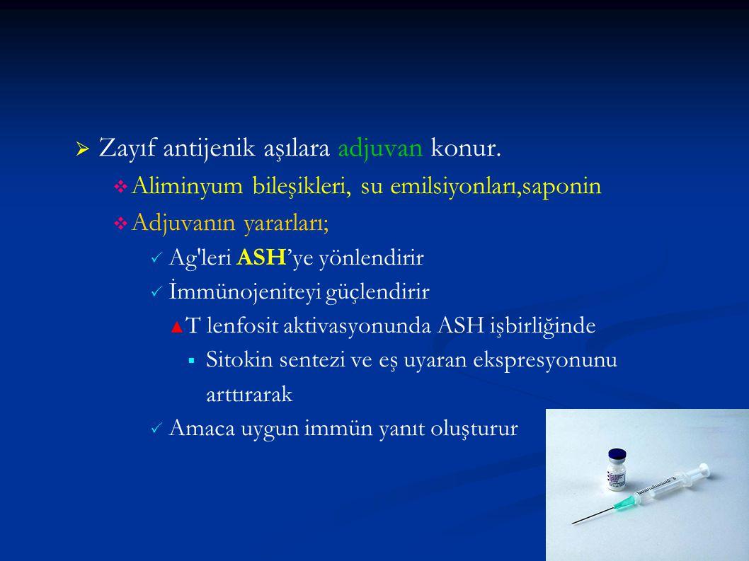   Zayıf antijenik aşılara adjuvan konur.   Aliminyum bileşikleri, su emilsiyonları,saponin   Adjuvanın yararları;   Ag'leri ASH'ye yönlendirir