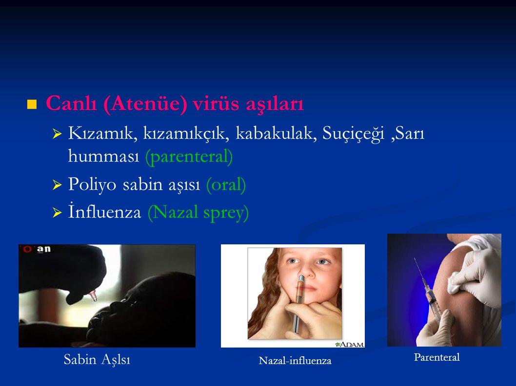 Canlı (Atenüe) virüs aşıları   Kızamık, kızamıkçık, kabakulak, Suçiçeği,Sarı humması (parenteral)   Poliyo sabin aşısı (oral)   İnfluenza (Nazal