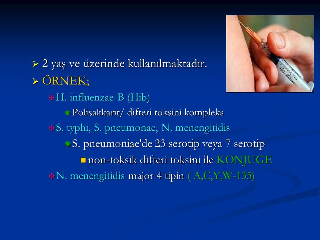 2 yaş ve üzerinde kullanılmaktadır.  ÖRNEK;  H. influenzae B (Hib)  Polisakkarit/ difteri toksini kompleks  S. typhi, S. pneumonae, N. menengiti