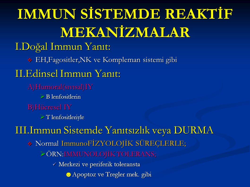 IMMUN SİSTEMDE REAKTİF MEKANİZMALAR I.Doğal Immun Yanıt:  EH,Fagositler,NK ve Kompleman sistemi gibi II.Edinsel Immun Yanıt: A)Humoral(sıvısal)IY  B
